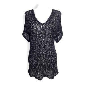 Eileen Fisher Organic Cotton Sweater Black V Neck